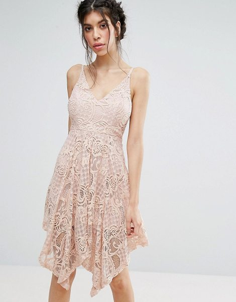 Love Triangle Lace Dress With Hanky Hem in pink