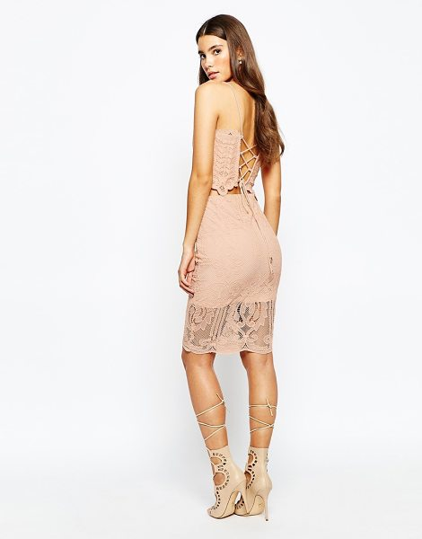 Love Triangle Lace midi skirt in nude - Midi skirt by Love Triangle Smooth woven fabric...