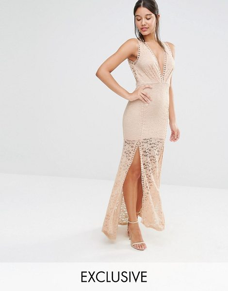 Love Triangle Lace Plunge Front Maxi Dress with Ladder in pink - Maxi dress by Love Triangle, Semi-sheer lace,...