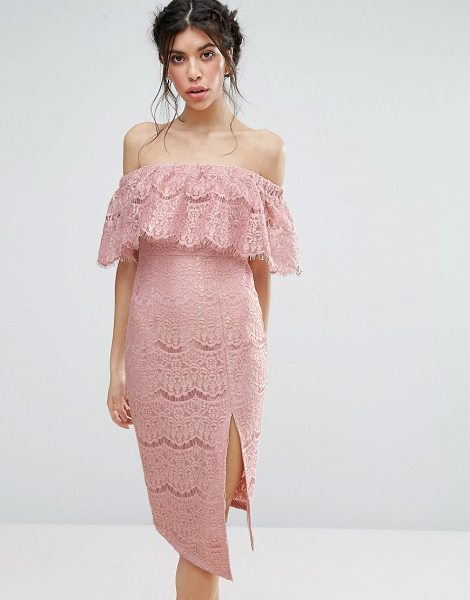 Love Triangle Metallic Lace Bardot Dress With Thigh Split in pink
