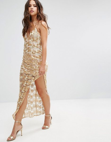 "Love Triangle Metallic Lace Dress with Asymmetric Hem in gold - """"Maxi dress by Love Triangle, Embroidered mesh,..."