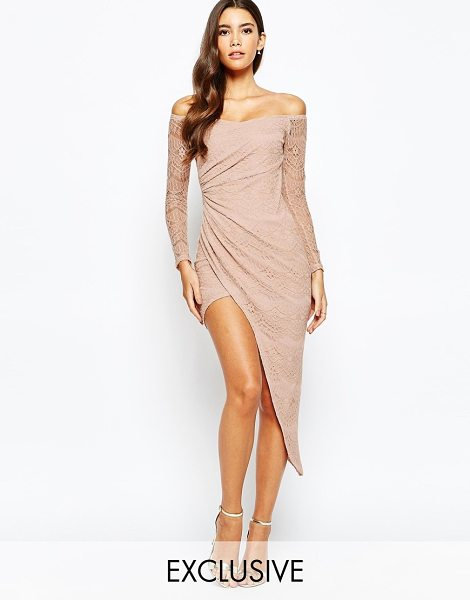 LOVE TRIANGLE Off shoulder lace dress with asymmetric skirt - Evening dress by Love Triangle, Partially lined...