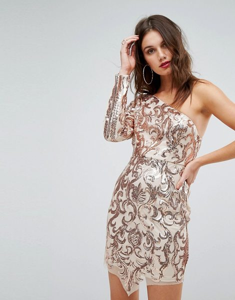 Love Triangle one shoulder sequin mini dress in rosegold - Mini dress by Love Triangle, Sequin-embellished fabric,...