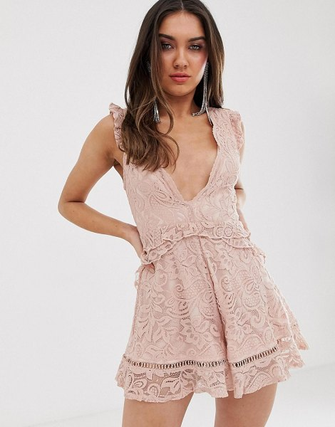 Love Triangle plunge front eyelash lace romper with flippy hem in soft mink in softmink