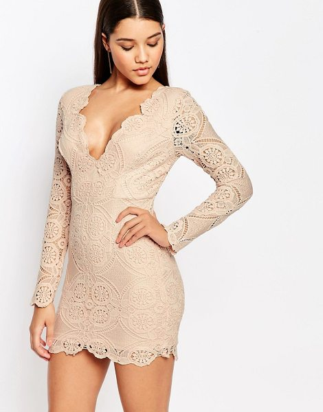 Love Triangle V Neck Mini Dress in pink - Dress by Love Triangle, Lined lace, Plunge neckline,...