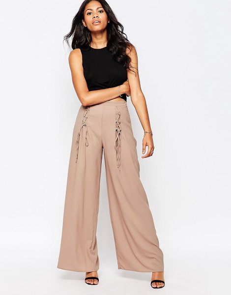 Love Wide Leg Pants With Lace Up Detail in beige