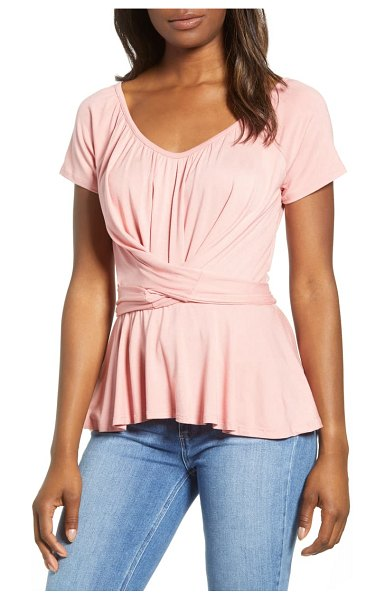 Loveappella wrap tie back peplum top in pink