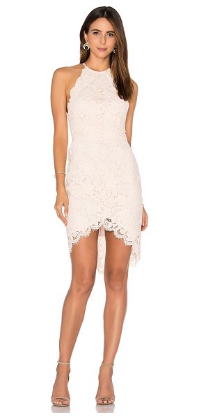Lover Affinity Halter Dress in blush - Poly blend. Dry clean only. Fully lined. Lace fabric....