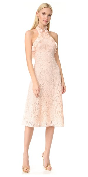 Lover affinity ruffle halter dress in tearose - A lace Lover dress in a swingy fit-and-flare silhouette....