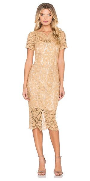 Lover Empire midi dress in tan - Self: 61% cotton 32% viscose 7% polyamideLining: 100%...