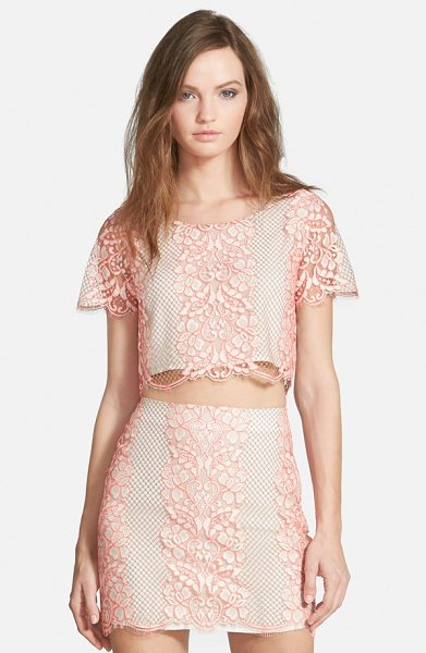 Lovers + Friends taluca lace crop top in neon coral - Intricate floral embroidery and scalloped hems create...