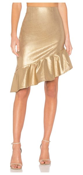 "Lovers + Friends Aiden Skirt in metallic gold - ""Self & Lining: 100% cotton. Hand wash cold. Fully..."