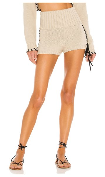 Lovers + Friends annalisa laced fold over short in oatmeal & black