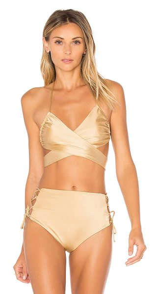 Lovers + Friends Annie Top in tan - It's a wrap. The Annie Bikini Top amps up your poolside...