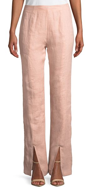 "Lovers + Friends Arya Split-Leg Linen Pants in light pink - Lovers And Friends ""Arya"" pants in linen. Mid rise...."