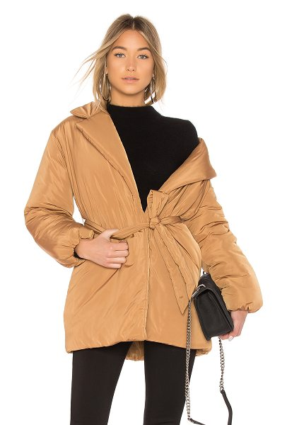 Lovers + Friends Calla Lily Belted Puffer in tan