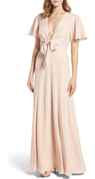 Lovers + Friends chandelle gown in beige - Demure and feminine, this flowing gown features a...