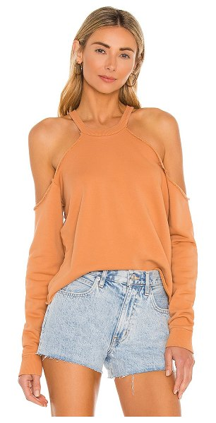 Lovers + Friends cropped crewneck with cold shoulder in tan