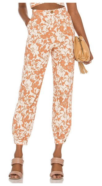 Lovers + Friends kacey pant in caramel brown floral