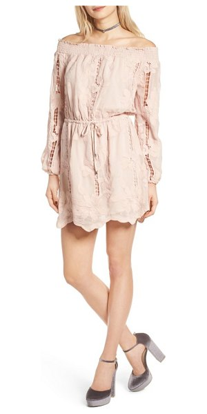 Lovers + Friends kory off the shoulder minidress in nude - Look pretty and polished in a shabby-chic minidress...