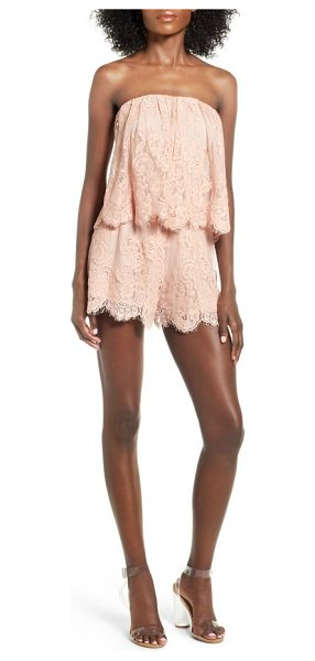 Lovers + Friends kristine lace romper in nude - Strapless and fancy-free, this ruffled popover bodice...