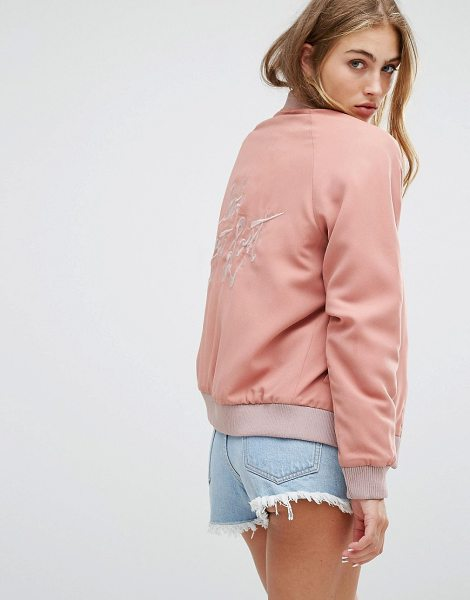 "Lovers + Friends Let's Get Lost Back Slogan Bomber Jacket in pink - """"Bomber jacket by Lovers + Friends, Lined woven fabric,..."