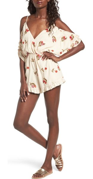 Lovers + Friends malia off the shoulder romper in floral embroidered nude - Embroidered with vibrant flowers, this back-baring style...