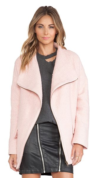 Lovers + Friends Merci coat in pink - Wool/poly blend. Front zip closure. Side flap pockets....