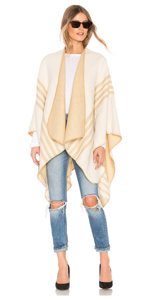 Lovers + Friends poncho with stripe detail in cream & taupe