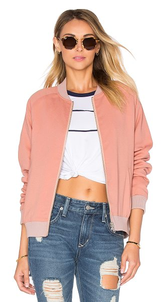 LOVERS + FRIENDS Roadtrippin Bomber Jacket - Poly blend. Hand wash cold. Zip front closure. Side welt...