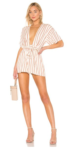 Lovers + Friends simon romper in rust coral