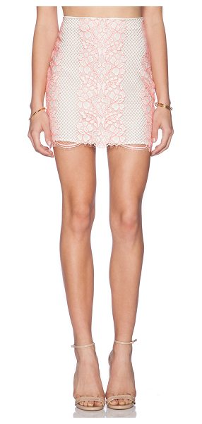 "Lovers + Friends Taluca mini skirt in coral - Poly blend. Skirt measures approx 16"""" in length. Fully..."