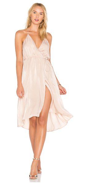 Lovers + Friends X REVOLVE Aaren Dress in blush - 100% poly. Dry clean only. Fully lined. Halter neck tie...