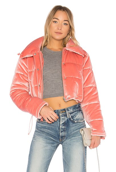 Lovers + Friends Dee Cropped Puffer in pink - Poly blend. Hand wash cold. Front zipper and snap button...