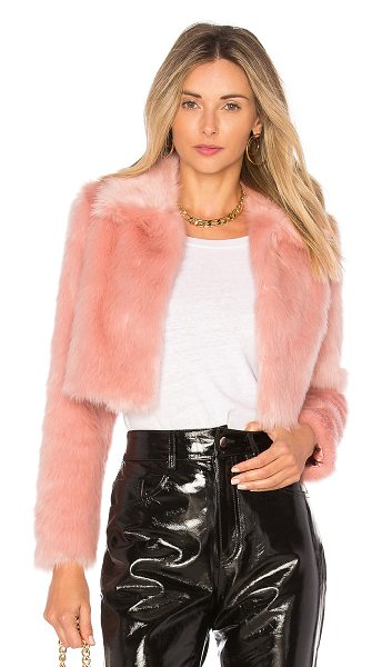 Lovers + Friends x REVOLVE Dixie Fur Jacket in pink - Self: 100% modacrylicLining: 95% poly 5% spandex. Dry...