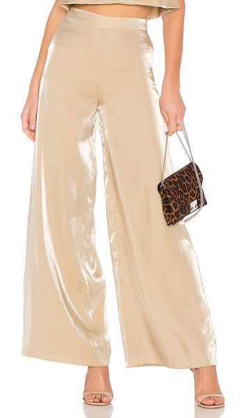 "Lovers + Friends Zoey Wide Leg Pants in gold - ""Self: 67% rayon 33% nylonLining: 97% poly 3% spandex...."