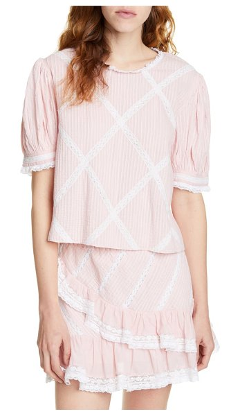 LoveShackFancy addie lace grid cotton blouse in pink