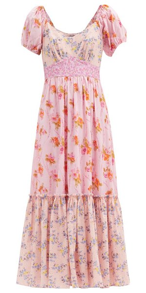 LoveShackFancy angie patchwork floral-print cotton midi dress in pink print