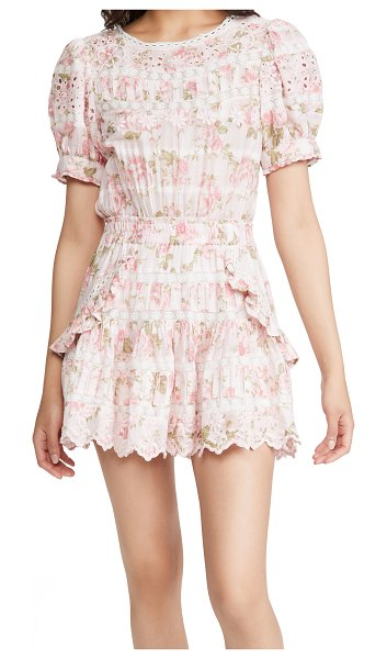 LoveShackFancy augustine dress in pink painted fence