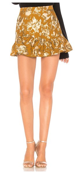 "LoveShackFancy Eliza Skirt in metallic gold - ""Poly blend. Hand wash cold. Fully lined. Metallic..."