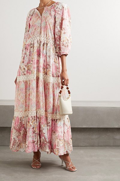LoveShackFancy evren crocheted lace-trimmed floral-print cotton and silk-blend maxi dress in pastel pink