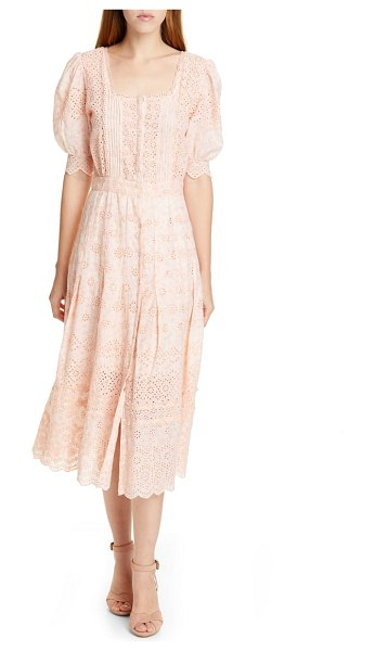LoveShackFancy helena eyelet midi dress in pink - Airy eyelets and scallop-trimmed edges underscore the...