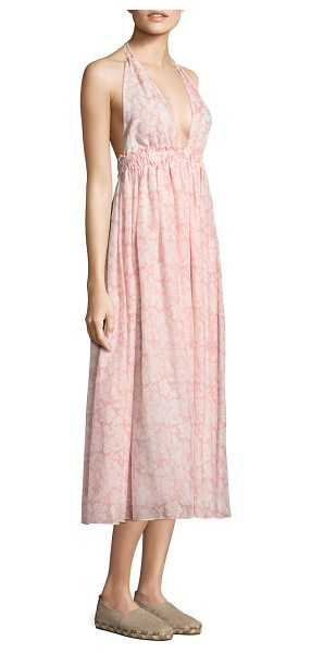 LoveShackFancy isabel long a-line silk dress in cotton rose - Pleated A-line dress featuring floral print design....