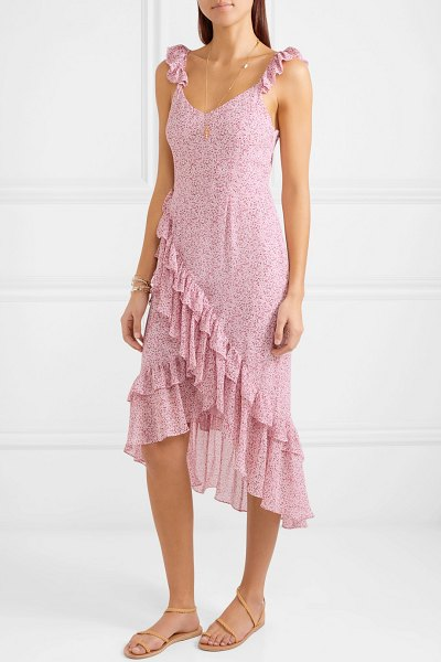 LoveShackFancy maeve ruffled floral-print silk-georgette dress in baby pink - The ditsy pattern on LoveShackFancy's 'Maeve' design was...