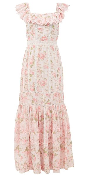 LoveShackFancy niko ruffled lace-insert floral-print cotton dress in pink multi