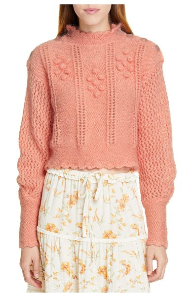 LoveShackFancy persephone sweater in coral - LoveShackFancy puts its romantic spin on a mohair-blend...