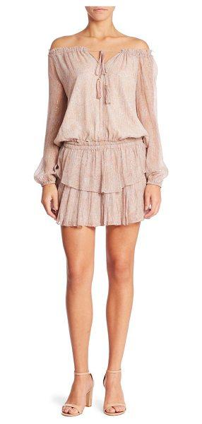 LoveShackFancy popover ruffle silk-blend mini dress in sand - Ruffled dress with subtle shimmering stripes....