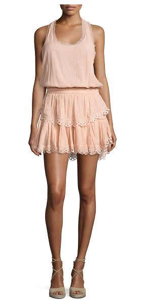 LoveShackFancy Racerback Ruffled Cotton Mini Dress in petal pink - LoveShackFancy mini dress with embroidered eyelet trim....