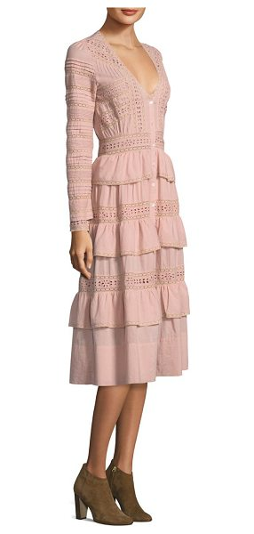LoveShackFancy rebecca eyelet cotton dress in pink - Vintage-style eyelet cotton dress with tiered ruffle...