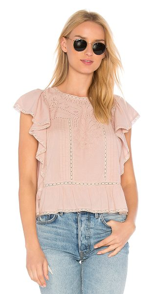 LoveShackFancy Rosemary Top in mauve - Cotton blend. Hand wash cold. Partial front button...